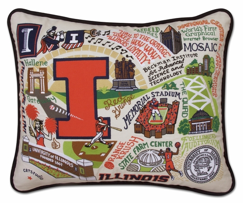 University of Illinois XL Embroidered Pillow by Catstudio (Special Order)