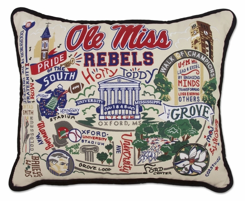 University of Mississippi XL Embroidered Pillow by Catstudio (Special Order)