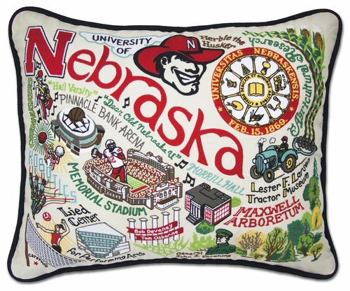 University of Nebraska XL Embroidered Pillow by Catstudio (Special Order)