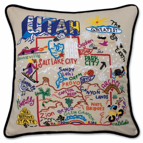 Utah XL Hand-Embroidered Pillow by Catstudio (Special Order)