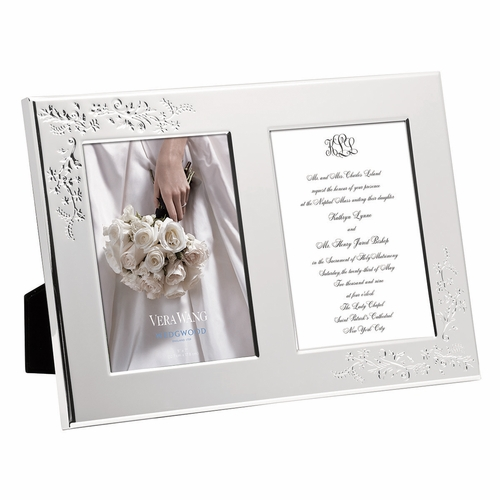 Vera Wang Vera Lace Bouquet 5x7 Double Invitation Frame by Wedgwood