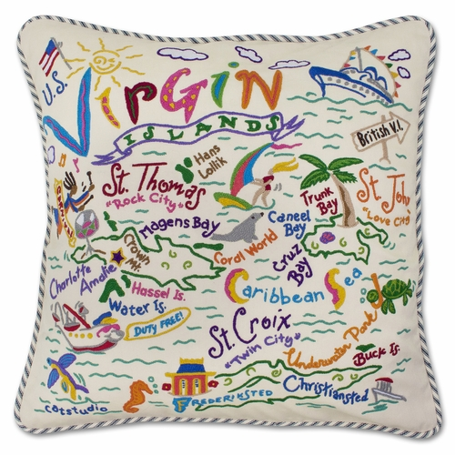 Virgin Islands XL Hand-Embroidered Pillow by Catstudio (Special Order)