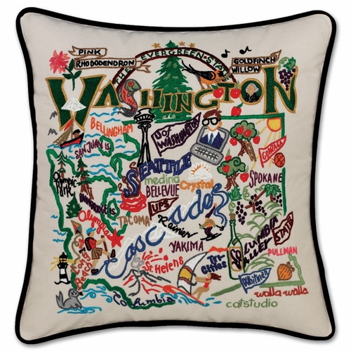 Washington XL Hand-Embroidered Pillow by Catstudio (Special Order)