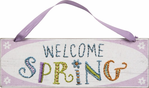 Welcome Spring Stitchery Sign - Primitives by Kathy