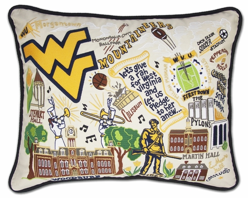 West Virginia University XL Embroidered Pillow by Catstudio (Special Order)