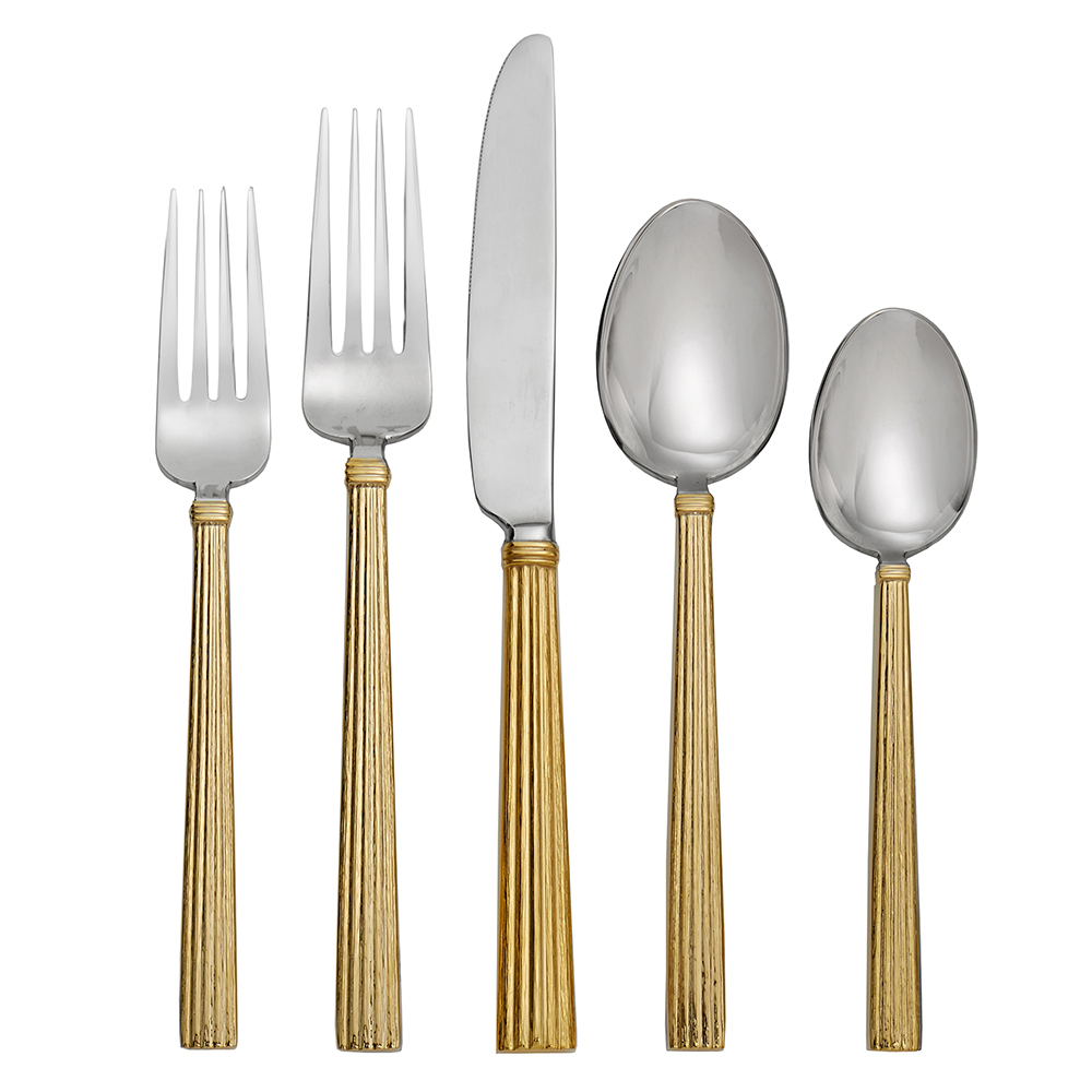 Wheat gold 5 piece flatware set by michael aram - Flatware set with stand ...