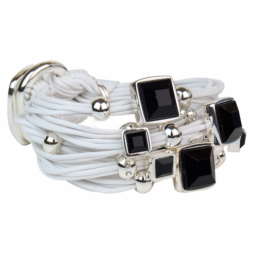 White Black Ceramic Stone Silver Beads Bracelet by Gillian Julius