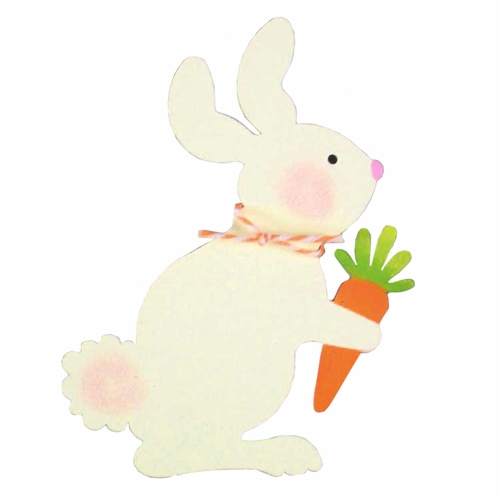 White Bunny With Carrot Magnet - ROEDA HANDPAINTED ORIGINAL