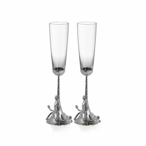 White Orchid Tasting Flutes (Set of 2) by Michael Aram