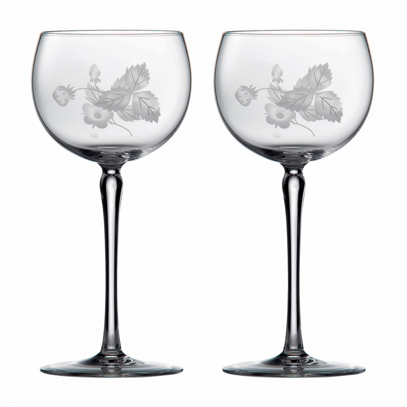 Wild strawberry crystal wine glass pair by wedgwood - Wedgwood crystal wine glasses ...