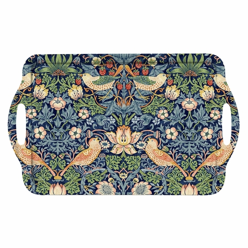 William Morris Strawberry Thief Blue Large Melamine Handled Tray by Pimpernel