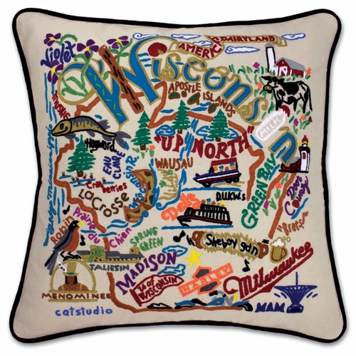 Wisconsin XL Hand-Embroidered Pillow by Catstudio (Special Order)