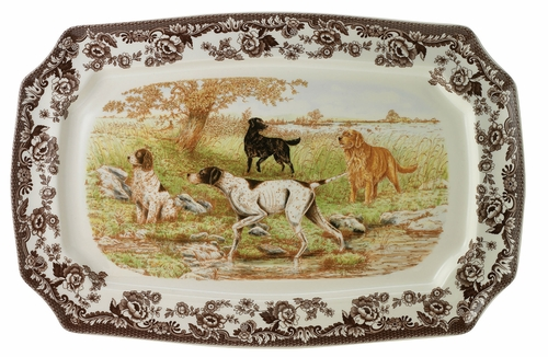 Woodland Hunting Dogs Rectangular Platter by Spode