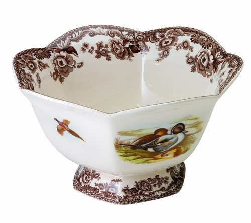 Woodland Lapwing/Quail Hexagonal Footed Bowl by Spode