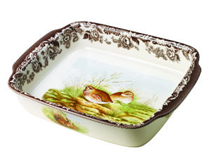 Woodland Mallard/Quail Rectangular Handled Dish by Spode
