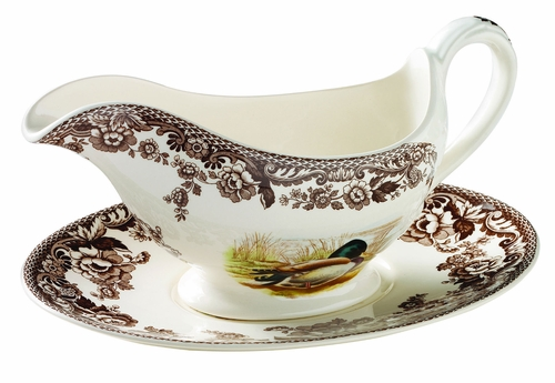 Woodland Mallard/Snipe/Rabbit Sauce Boat And Stand by Spode