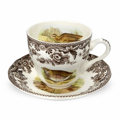 Woodland Quail/Pheasant/Snipe/Rabbit Teacup And Saucer by Spode