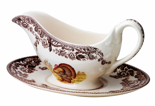 Woodland Turkey Sauce Boat And Stand by Spode