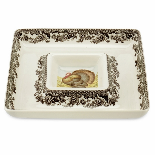 Woodland Turkey Square Chip And Dip by Spode