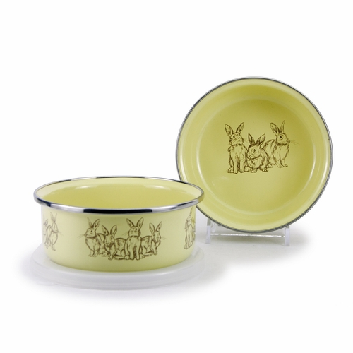 Yellow Bunnies Child Bowl with Lid by Golden Rabbit