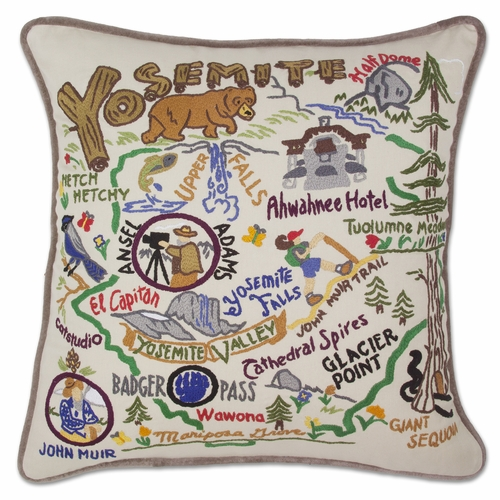 Yosemite XL Hand-Embroidered Pillow by Catstudio (Special Order)