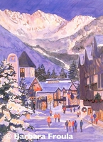 Vail Village Twilight Watercolor by Barbara Froula