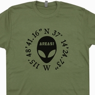 Area 51 Coordinence T Shirt Aliens T Shirt UFO T Shirt X-Files T Shirt