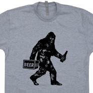 Bigfoot T Shirt Drinking Beer Shirt Sasquatch T Shirt Funny Beer Shirt
