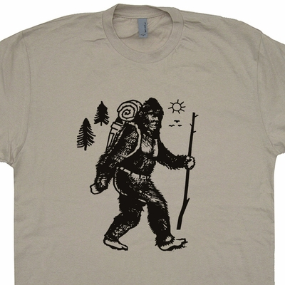 Bigfoot Hiking T Shirt Sasquatch Camping Shirt Cryptozoology Funny Shirts
