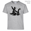 Bigfoot Riding On Loch Ness Monster T Shirt Funny Youth Shirts