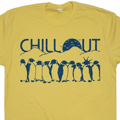 Funny Penguins T Shirt Chill Out T Shirt Funny Animal Shirts Vintage T Shirt
