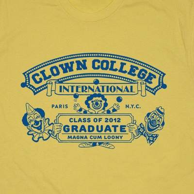 Clown College Graduate T Shirt Funny T Shirts Vintage Circus Clown Shirt