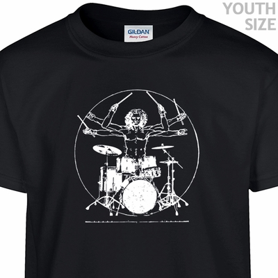 Da Vinci Drums Drummer T Shirt Kids Shirts Funny Youth Shirts