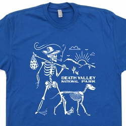 Death Valley National Park T Shirt Skeleton Walking Dog Hiking Tee