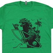 Godzilla Surfing T Shirt Vintage Surf Shirts Cool Surfer Tees 80s Surf Tee