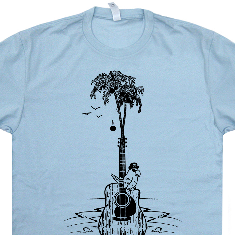 Guitar tree t shirt cool vintage band shirts parrot for Asheville t shirt company