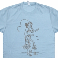 Hula Girl T Shirt Tiki Bar Shirt Vintage Surfing T Shirts Hawaii T Shirt