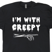 I'm With Creepy T Shirt Skeleton Horror Gwar The Misfits Tee Shirts