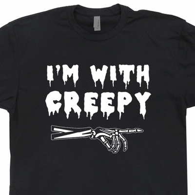 I'm With Creepy T Shirt Vintage Skeleton T Shirt Donnie Darko T Shirt