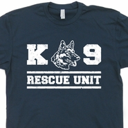 K9 Rescue Dog Unit T Shirt German Shepherd Shirts Fireman Police Tees