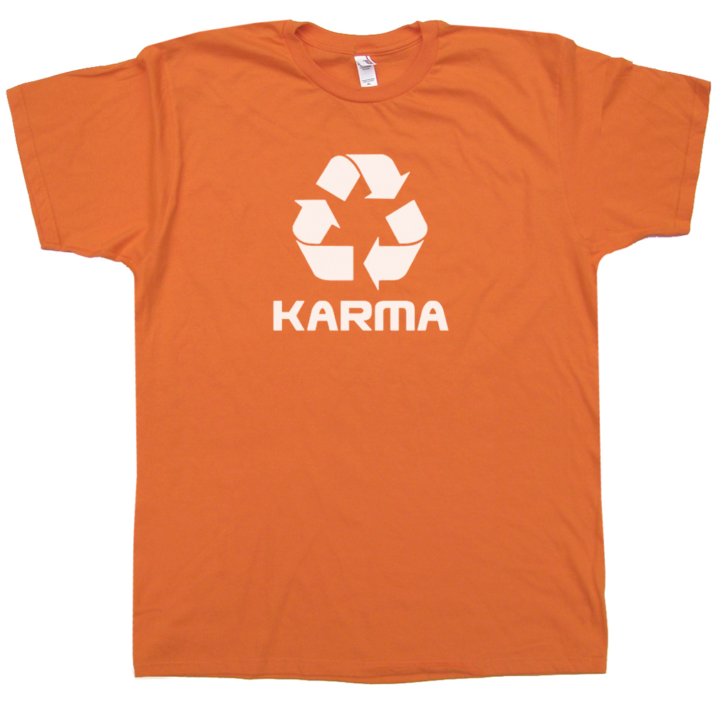 Karma logo t shirt recycle t shirt vintage t shirt for Old logo t shirts