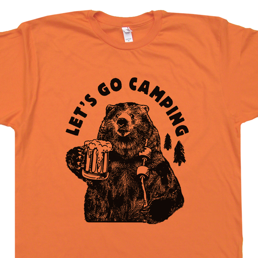 lets go camping t shirt cool hiking t shirt funny camping shirt saying. Black Bedroom Furniture Sets. Home Design Ideas