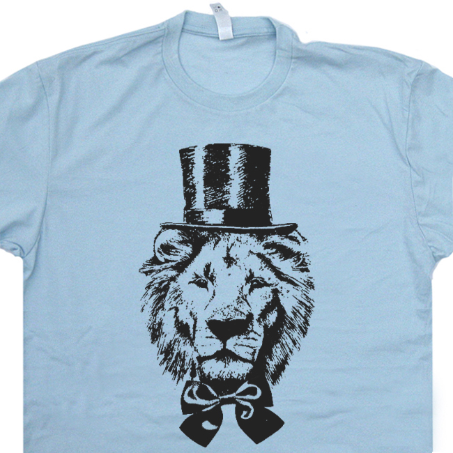 Lion T Shirt Top Hat Funny Animal Vintage