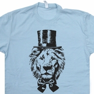 Lion T Shirt Top Hat Lion Shirt Funny Animal Shirt Vintage Animal Shirt