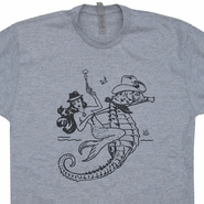 Mermaid T Shirt Vintage Mermaid Riding Seahorse Shirt Cool Mermaid Graphic Tee