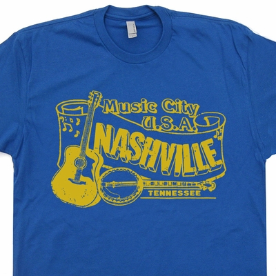 Nashville T Shirt Bluegrass Shirt Banjo T Shirt Vintage Country Music Tees