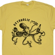 Octoholic Funny Beer T Shirts Vintage Octopus Craft Bar Pub Novelty