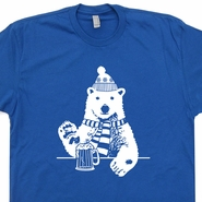 Polar Bear T Shirt Drinking Funny Beer T Shirt Vintage Skiing T Shirt