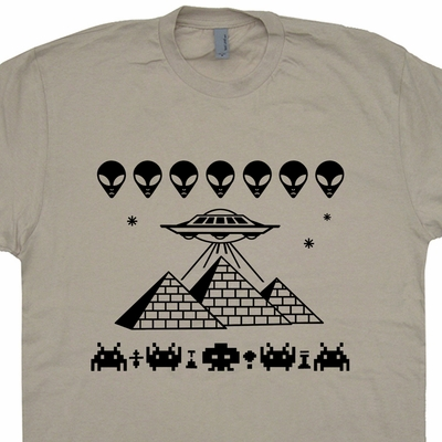 Pyramids UFO T Shirt Space Invaders T Shirt Cool Alien T Shirt Graphic
