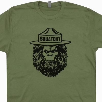 Squatchy Sasquatch T Shirt Smokey The Bear T Shirt Funny Bigfoot Shirts